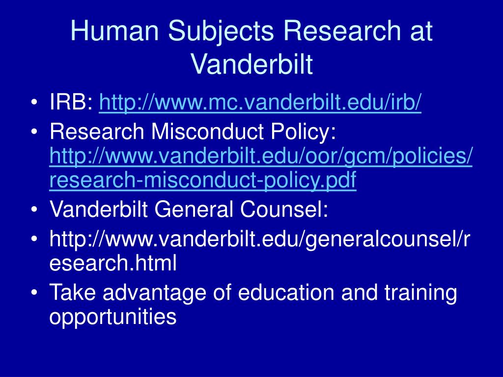 Human Subjects Research at Vanderbilt