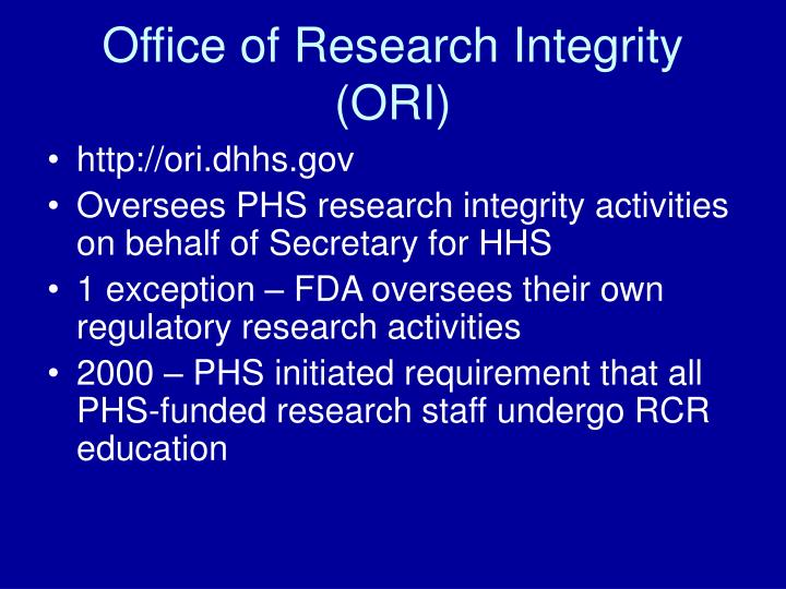 Office of research integrity ori