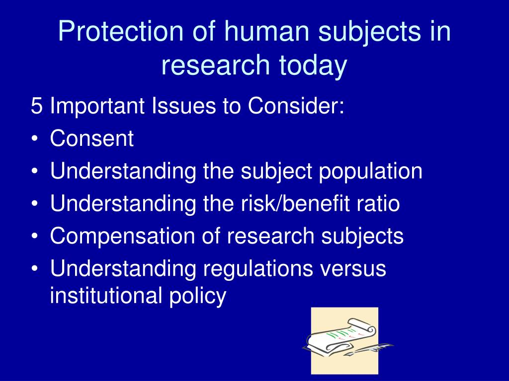 Protection of human subjects in research today