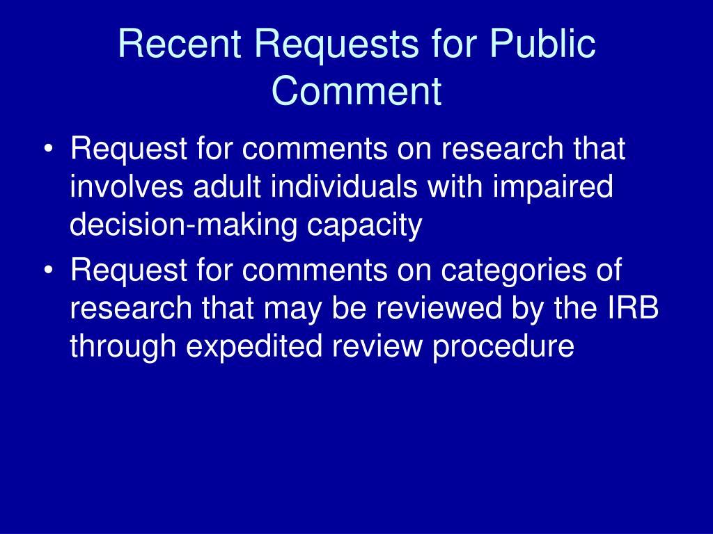 Recent Requests for Public Comment