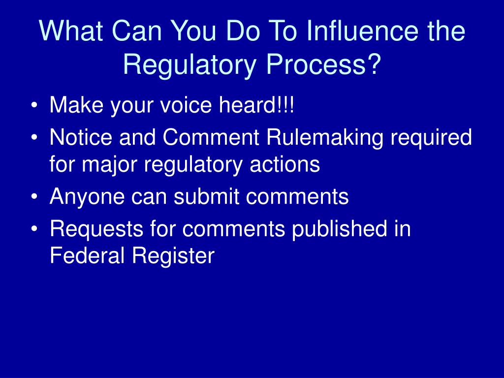 What Can You Do To Influence the Regulatory Process?