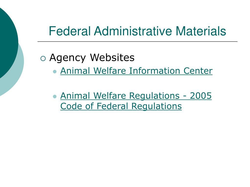 Federal Administrative Materials