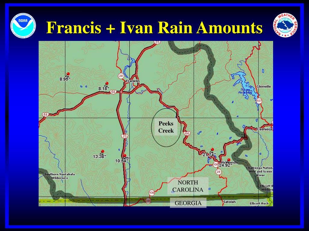 Francis + Ivan Rain Amounts