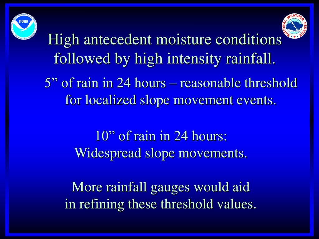 High antecedent moisture conditions