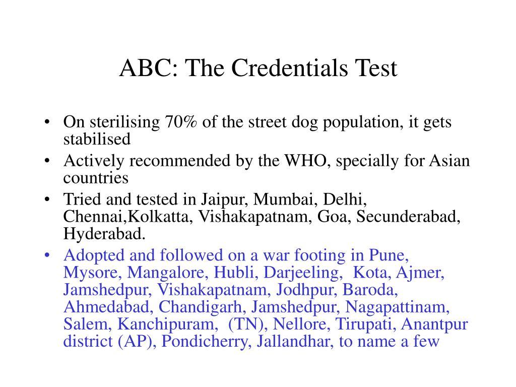 ABC: The Credentials Test