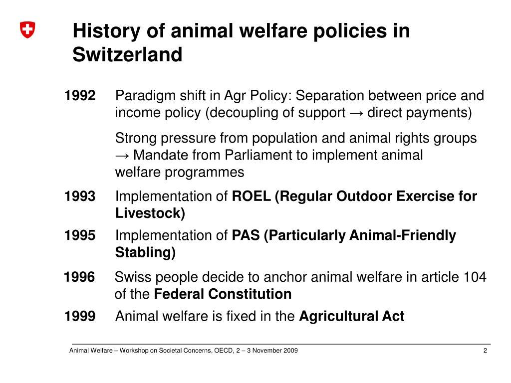 History of animal welfare policies in Switzerland