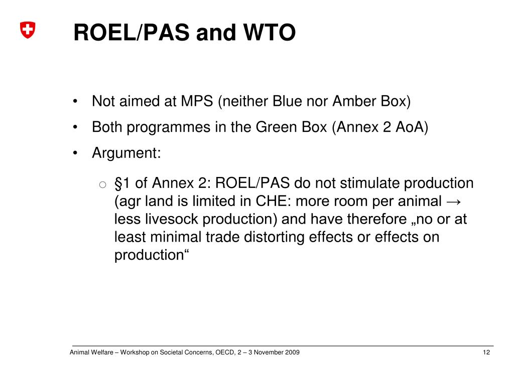 ROEL/PAS and WTO
