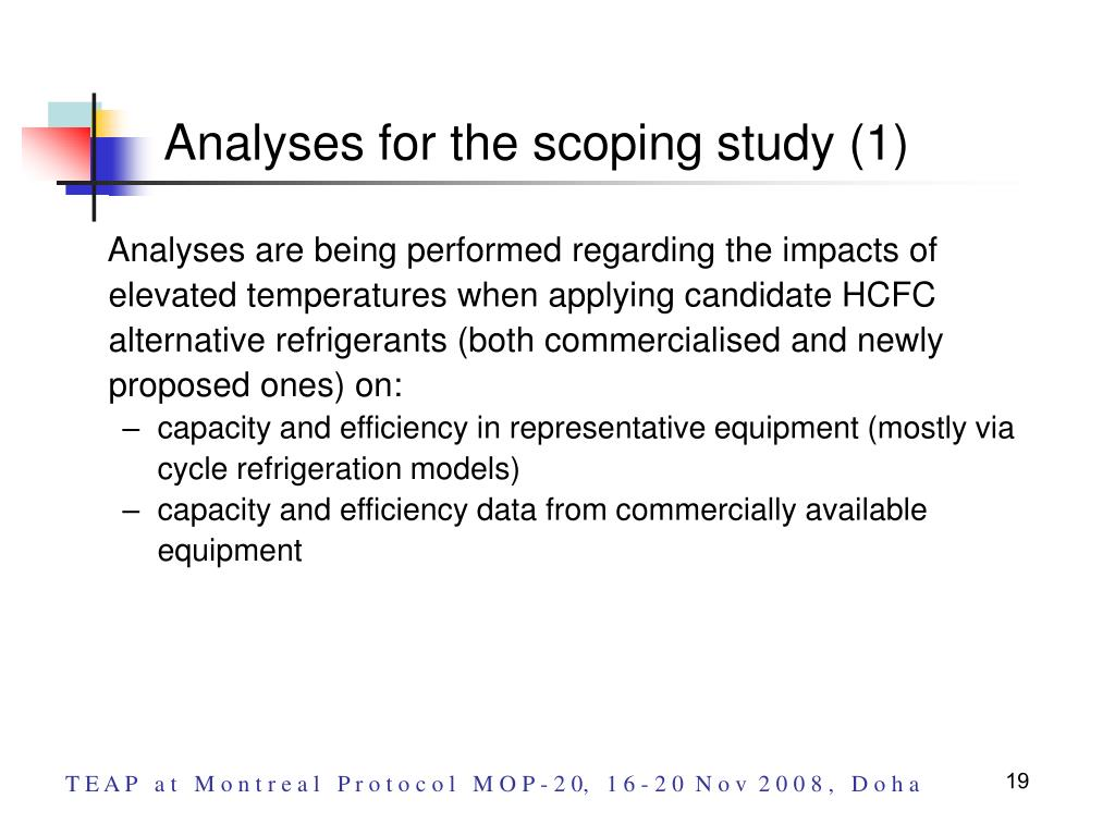 Analyses for the scoping study (1)