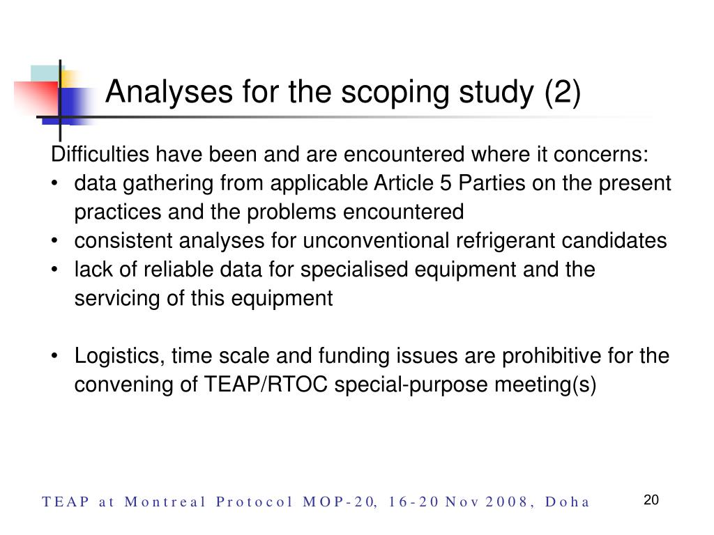 Analyses for the scoping study (2)