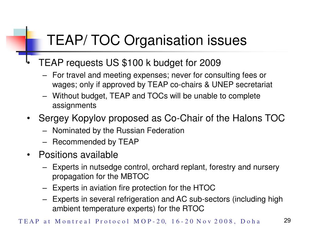 TEAP/ TOC Organisation issues