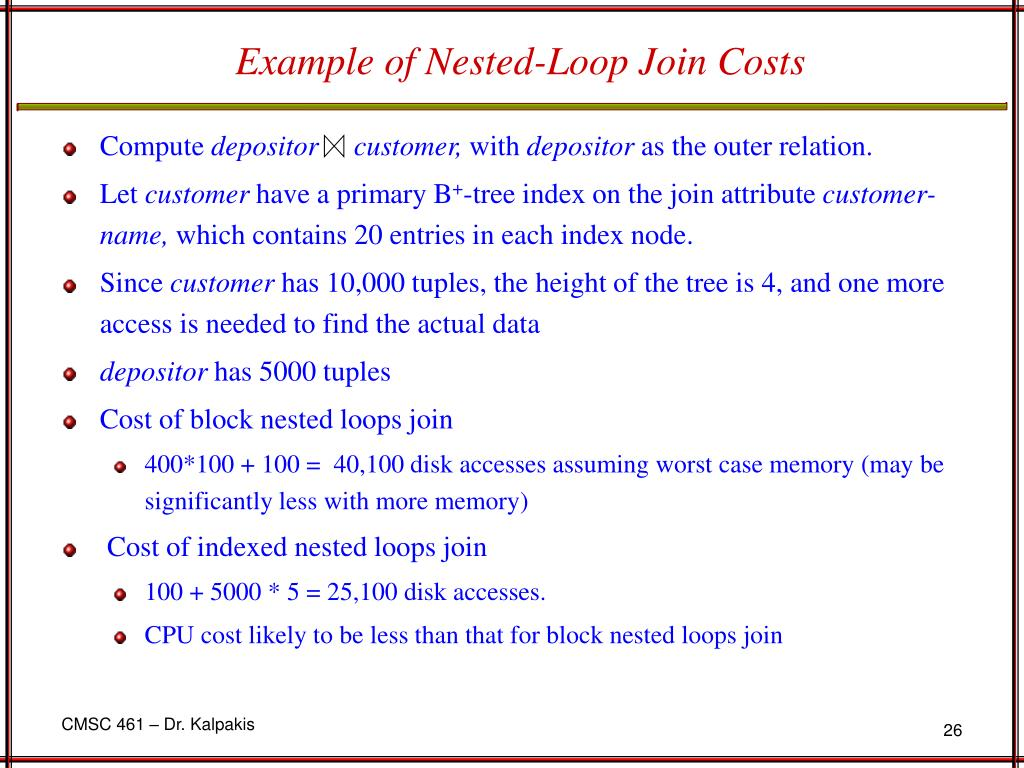Example of Nested-Loop Join Costs