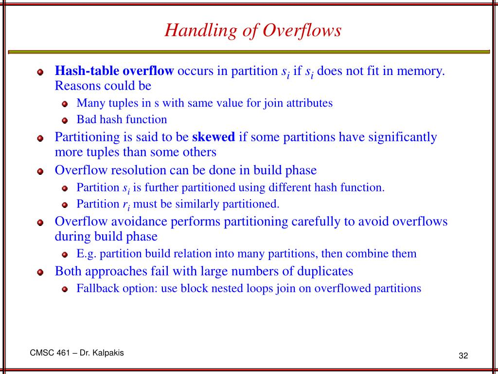 Handling of Overflows
