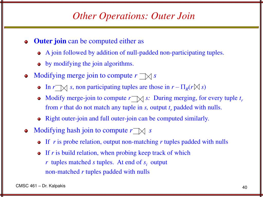Other Operations: Outer Join