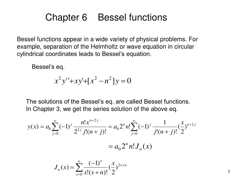 Chapter 6    Bessel functions