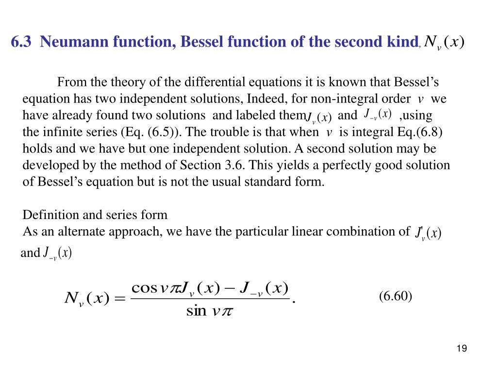 6.3  Neumann function, Bessel function of the second kind