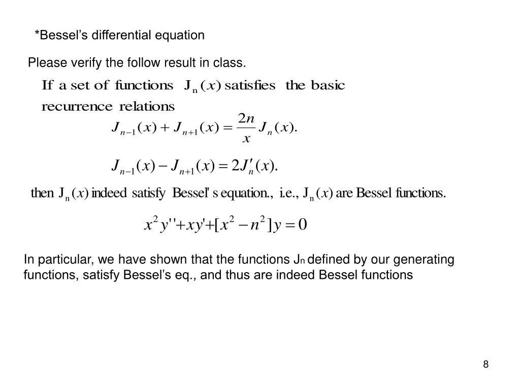 *Bessel's differential equation