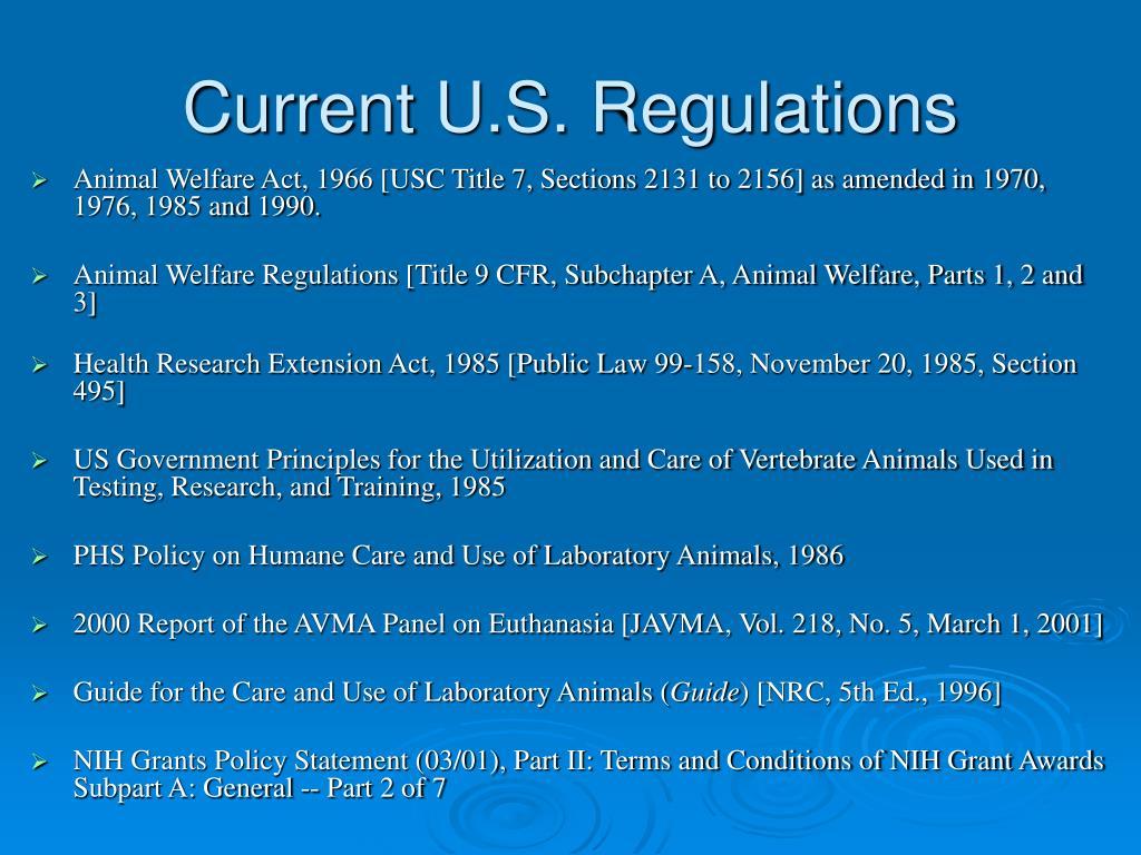 Current U.S. Regulations