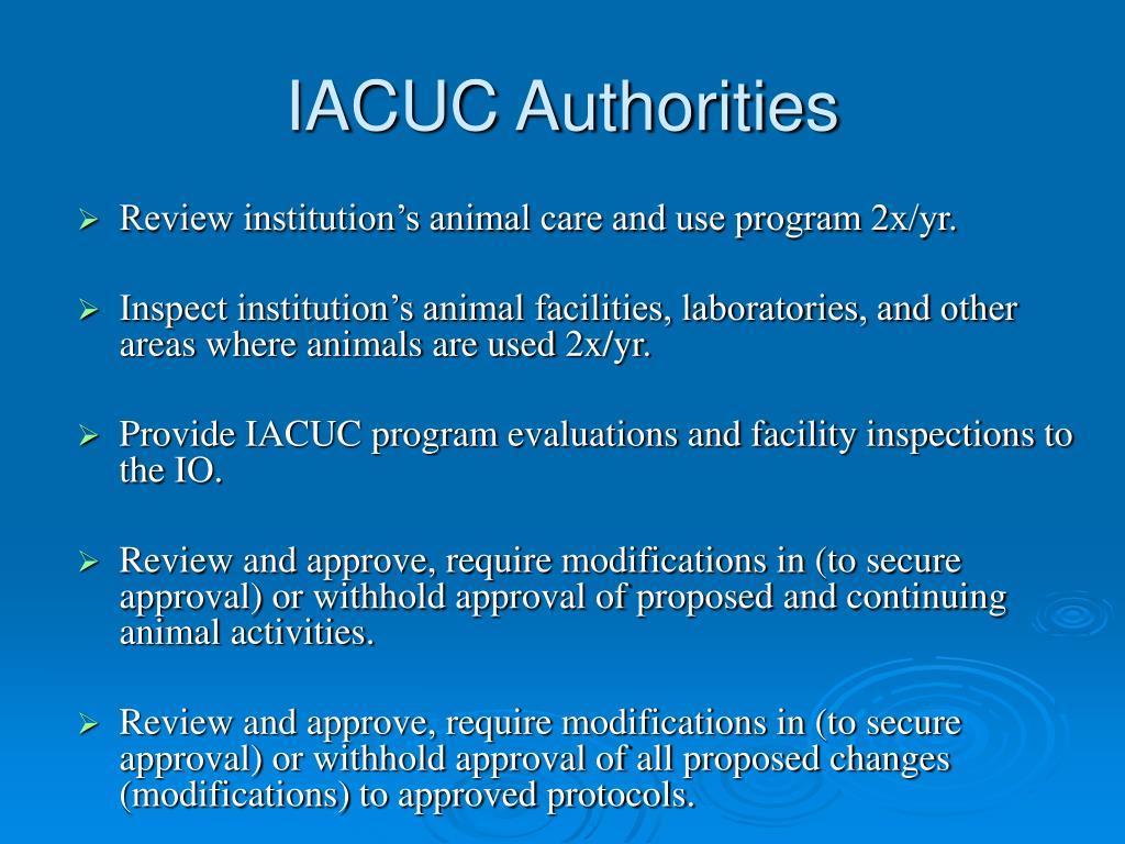 IACUC Authorities