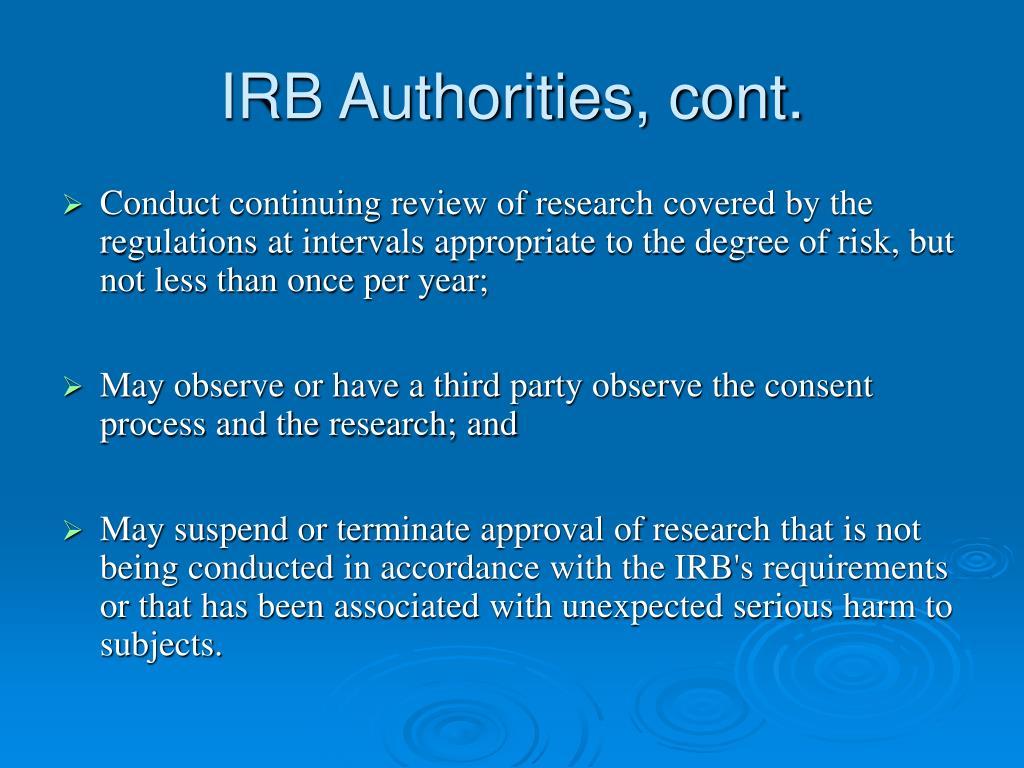 IRB Authorities, cont.