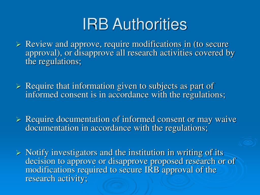 IRB Authorities