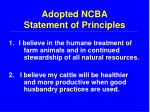 adopted ncba statement of principles