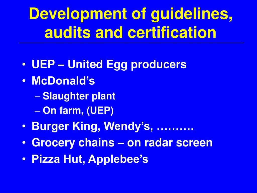 Development of guidelines, audits and certification