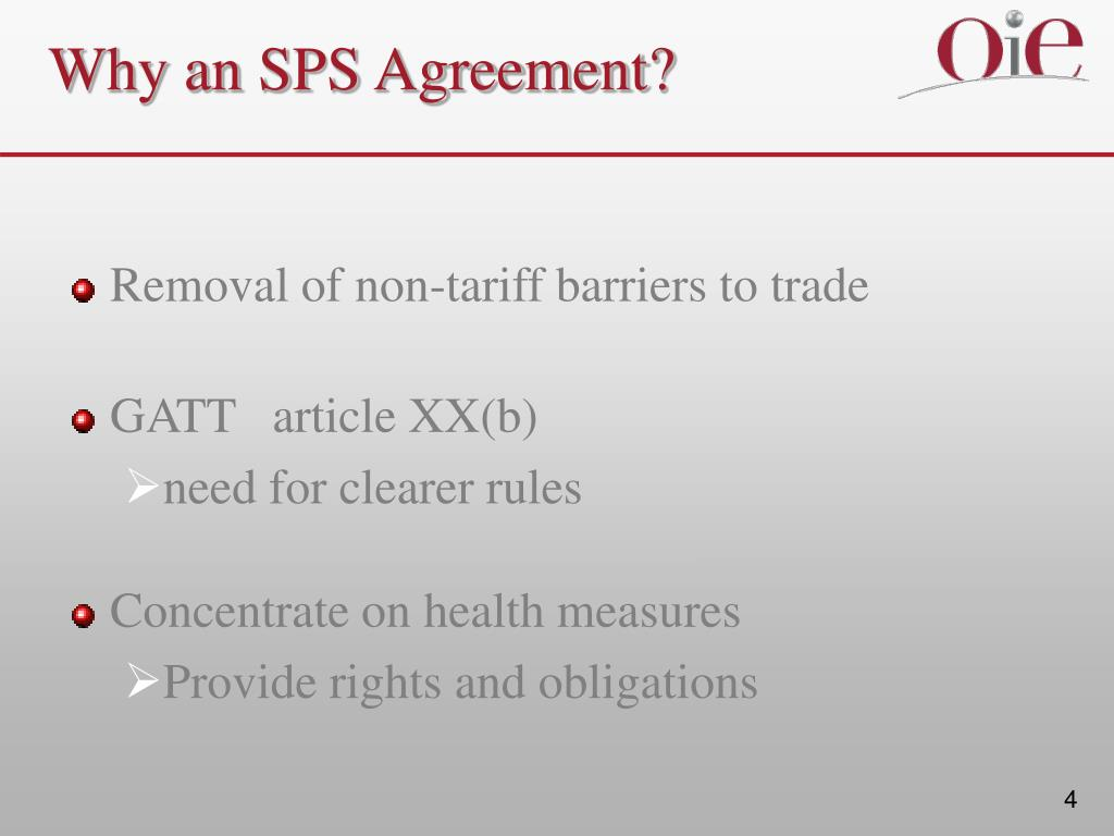 Why an SPS Agreement?