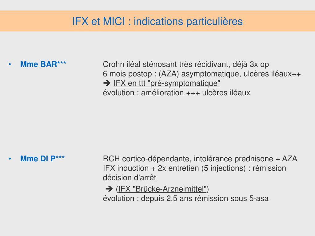 IFX et MICI : indications particulières