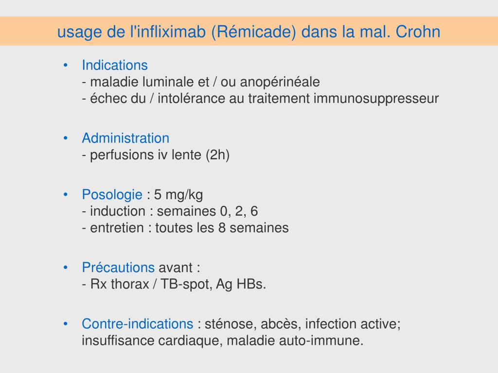 usage de l'infliximab (Rémicade) dans la mal. Crohn