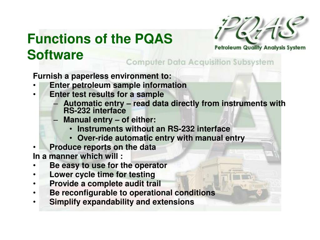 Functions of the PQAS Software