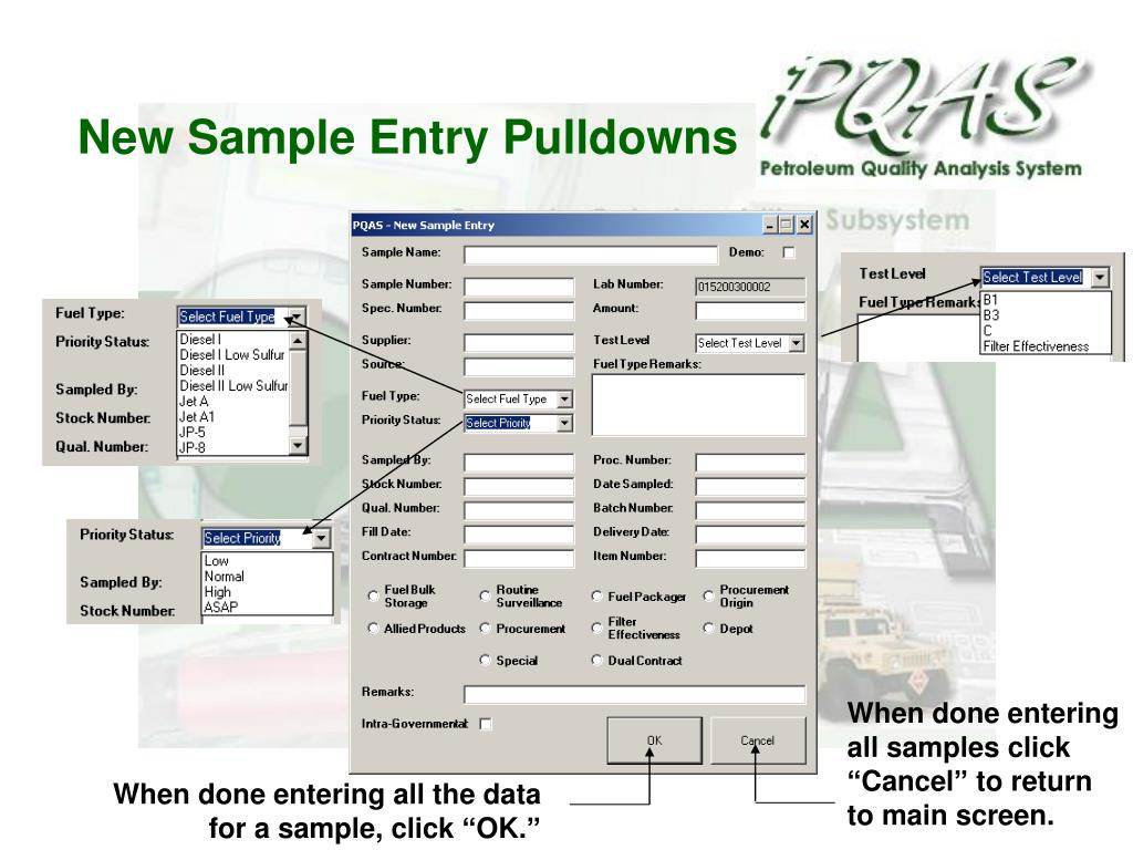 New Sample Entry Pulldowns