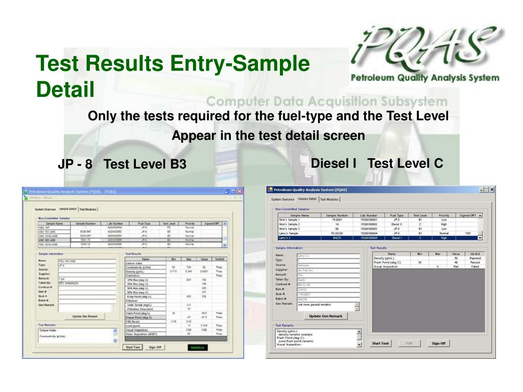 Test Results Entry-Sample Detail