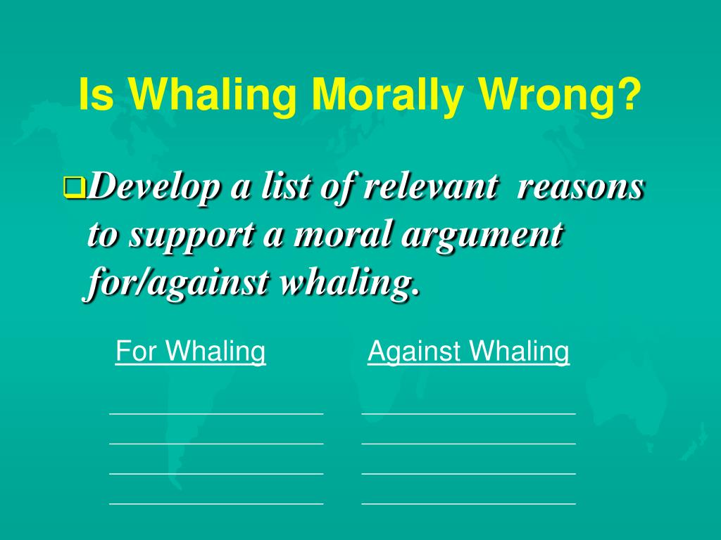 Is Whaling Morally Wrong?
