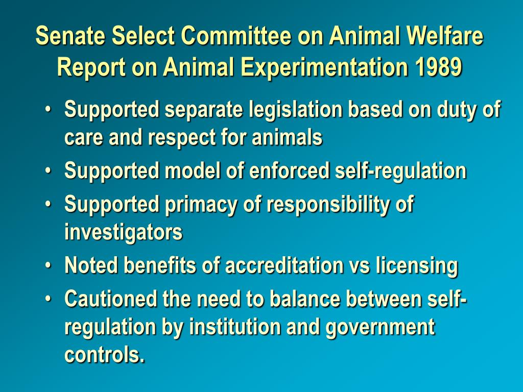 Senate Select Committee on Animal Welfare Report on Animal Experimentation 1989