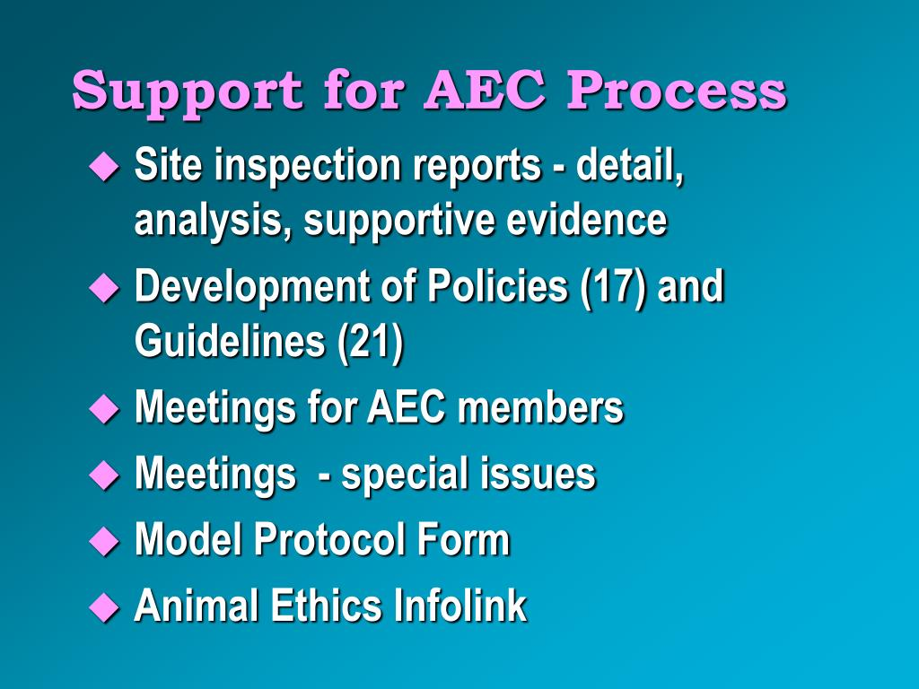 Support for AEC Process