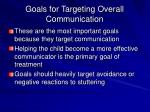 goals for targeting overall communication