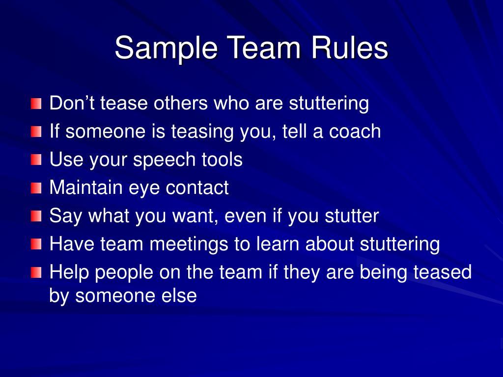 Sample Team Rules
