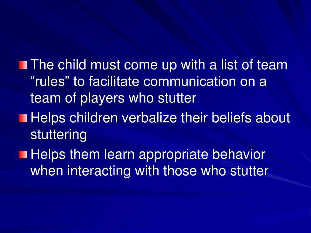 "The child must come up with a list of team ""rules"" to facilitate communication on a team of players who stutter"