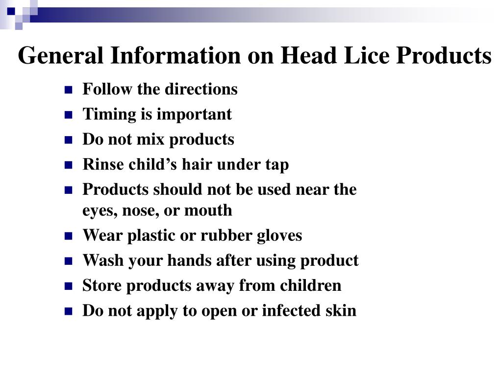 General Information on Head Lice Products