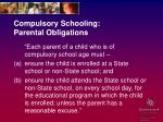 compulsory schooling parental obligations