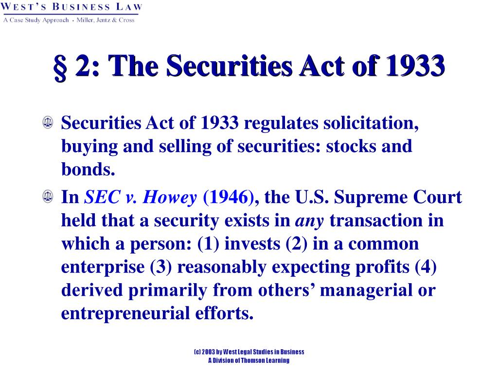 § 2: The Securities Act of 1933