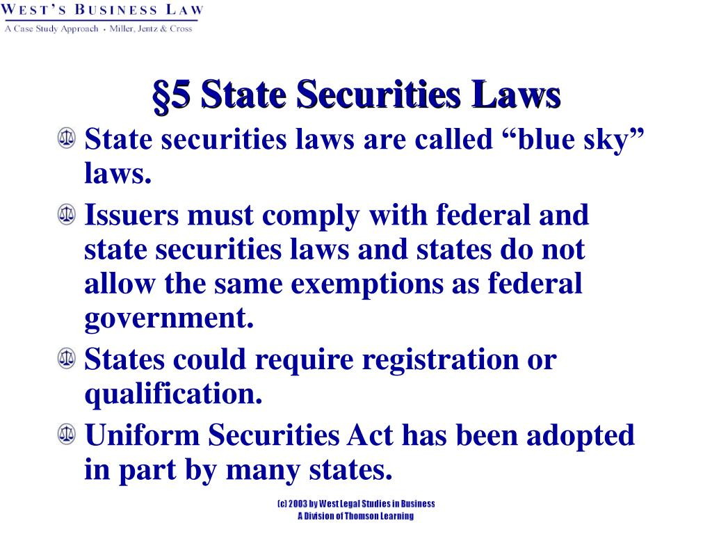§5 State Securities Laws