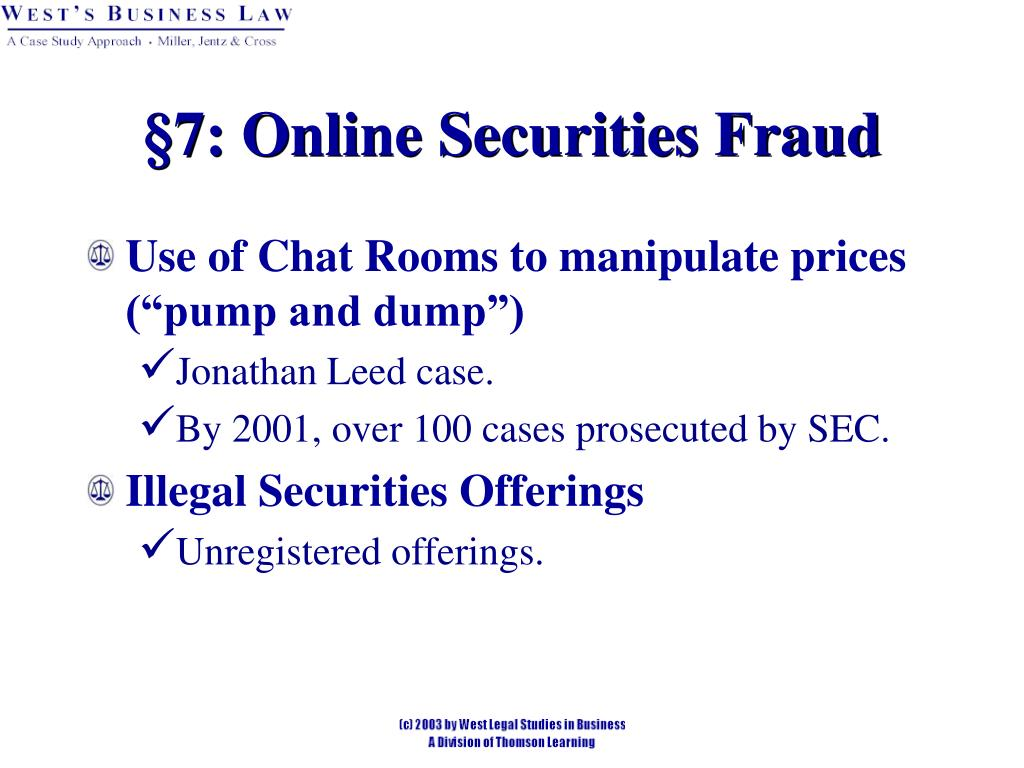 §7: Online Securities Fraud
