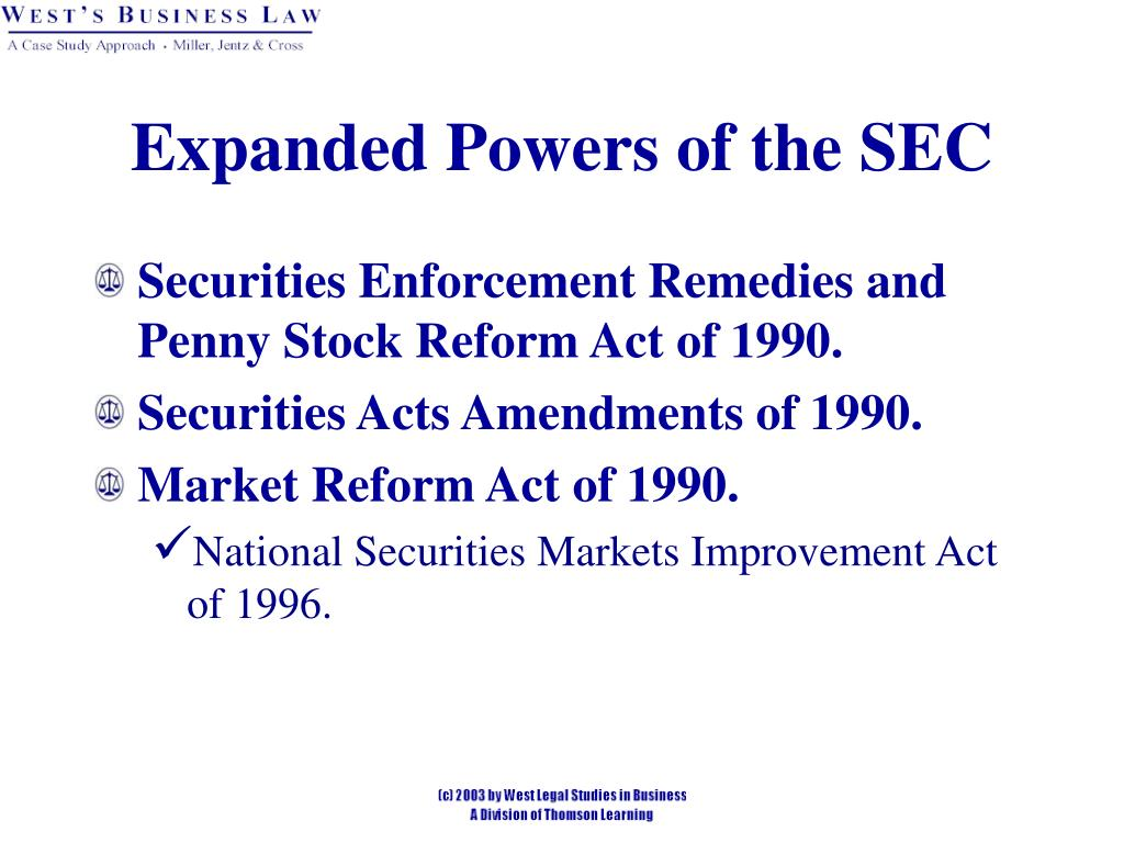Expanded Powers of the SEC