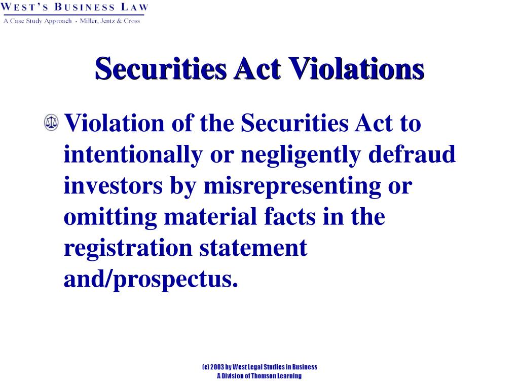 Securities Act Violations