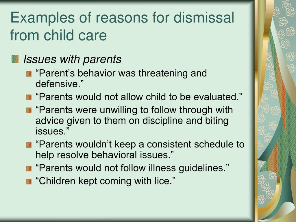 Examples of reasons for dismissal from child care