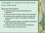 examples of reasons for dismissal from child care18
