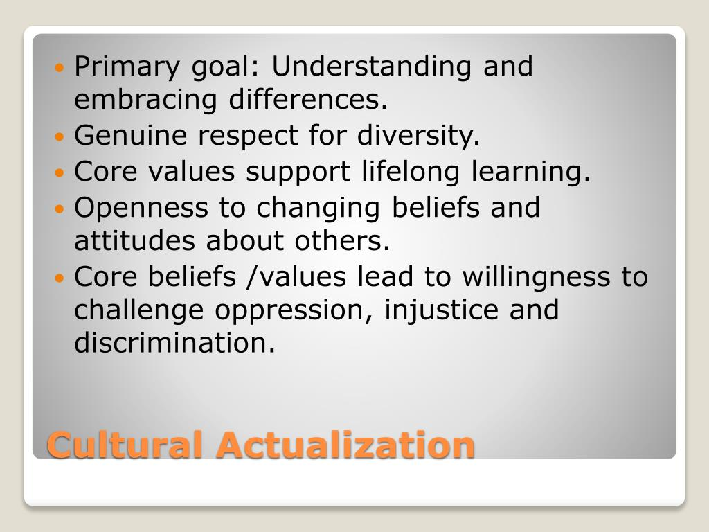 Primary goal: Understanding and embracing differences.