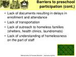 barriers to preschool participation cont