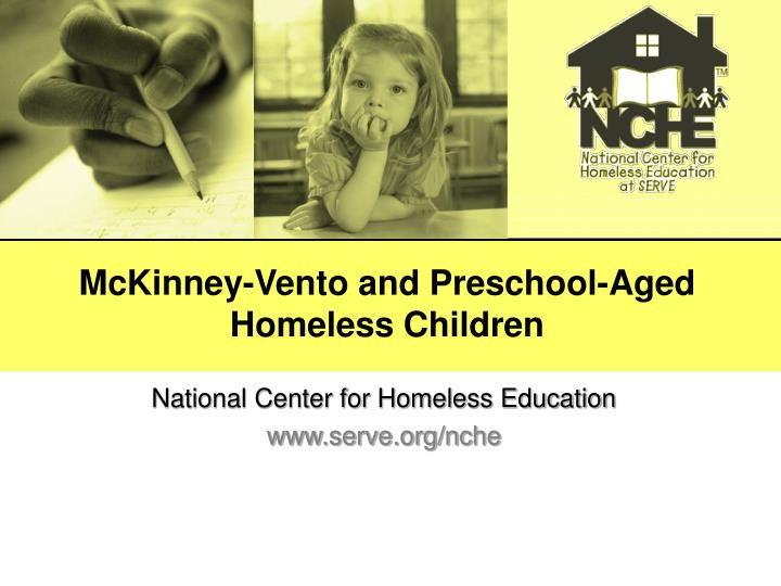 Mckinney vento and preschool aged homeless children